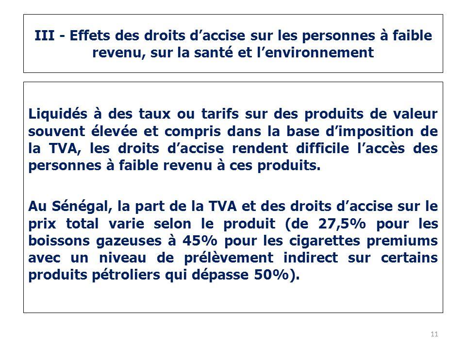 III - Effets des droits daccise sur les personnes à faible revenu, sur la santé et lenvironnement Liquidés à des taux ou tarifs sur des produits de va