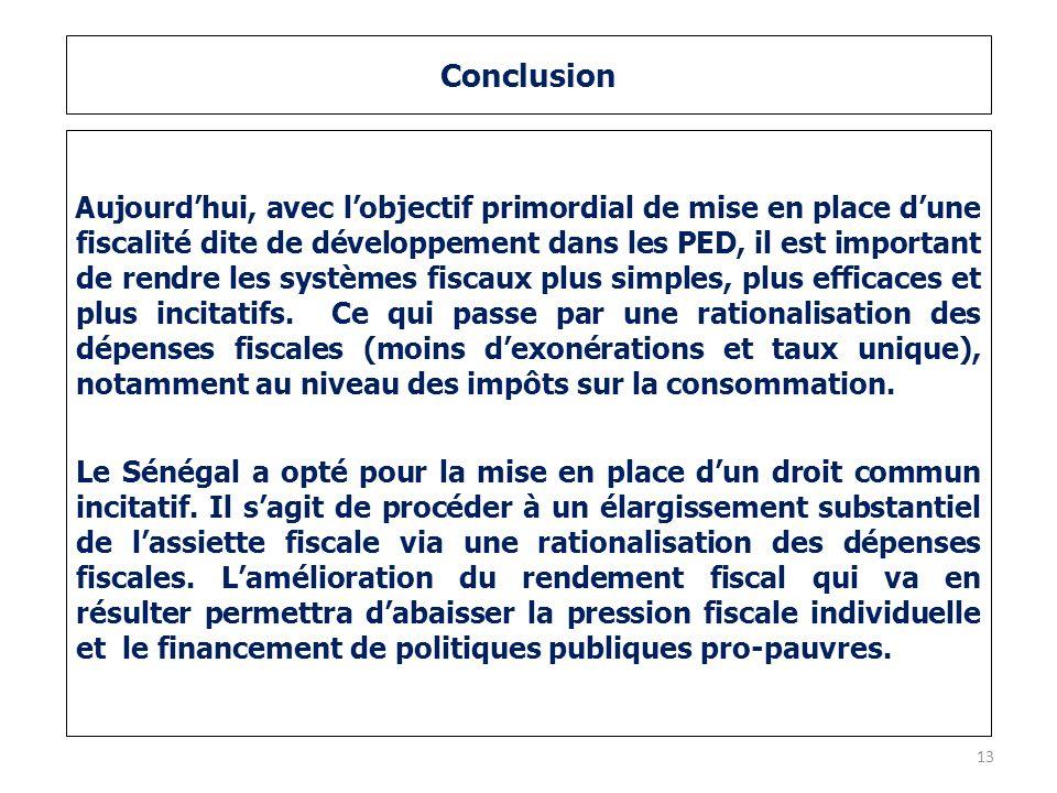 Conclusion Aujourdhui, avec lobjectif primordial de mise en place dune fiscalité dite de développement dans les PED, il est important de rendre les sy