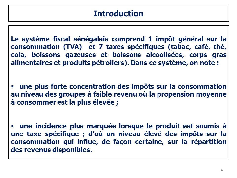 Introduction Le système fiscal sénégalais comprend 1 impôt général sur la consommation (TVA) et 7 taxes spécifiques (tabac, café, thé, cola, boissons