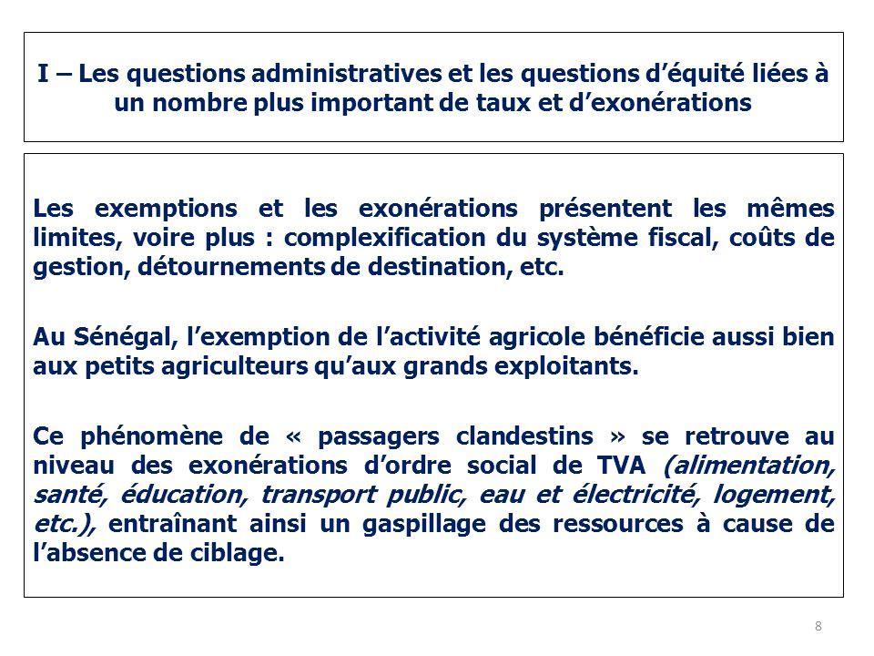 I – Les questions administratives et les questions déquité liées à un nombre plus important de taux et dexonérations Les exemptions et les exonération