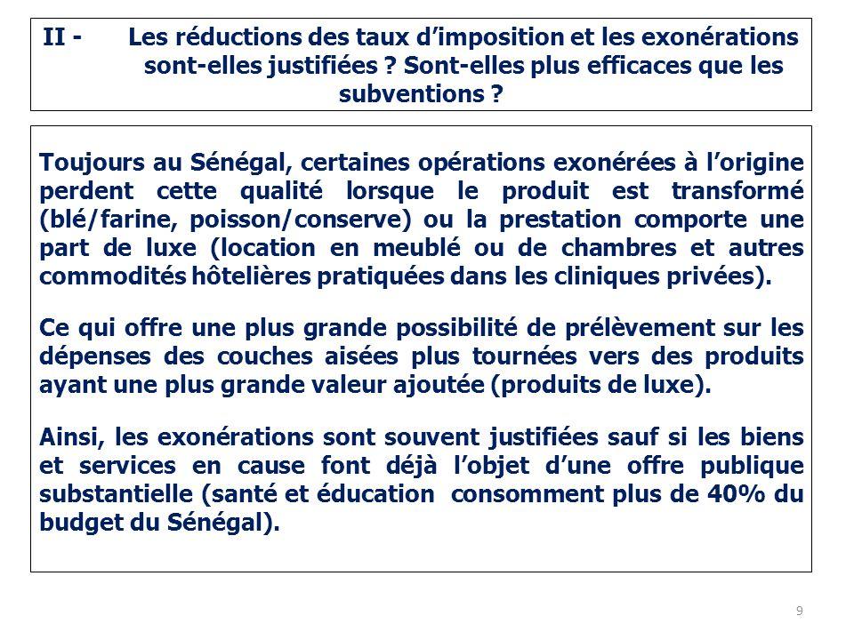 II - Les réductions des taux dimposition et les exonérations sont-elles justifiées .