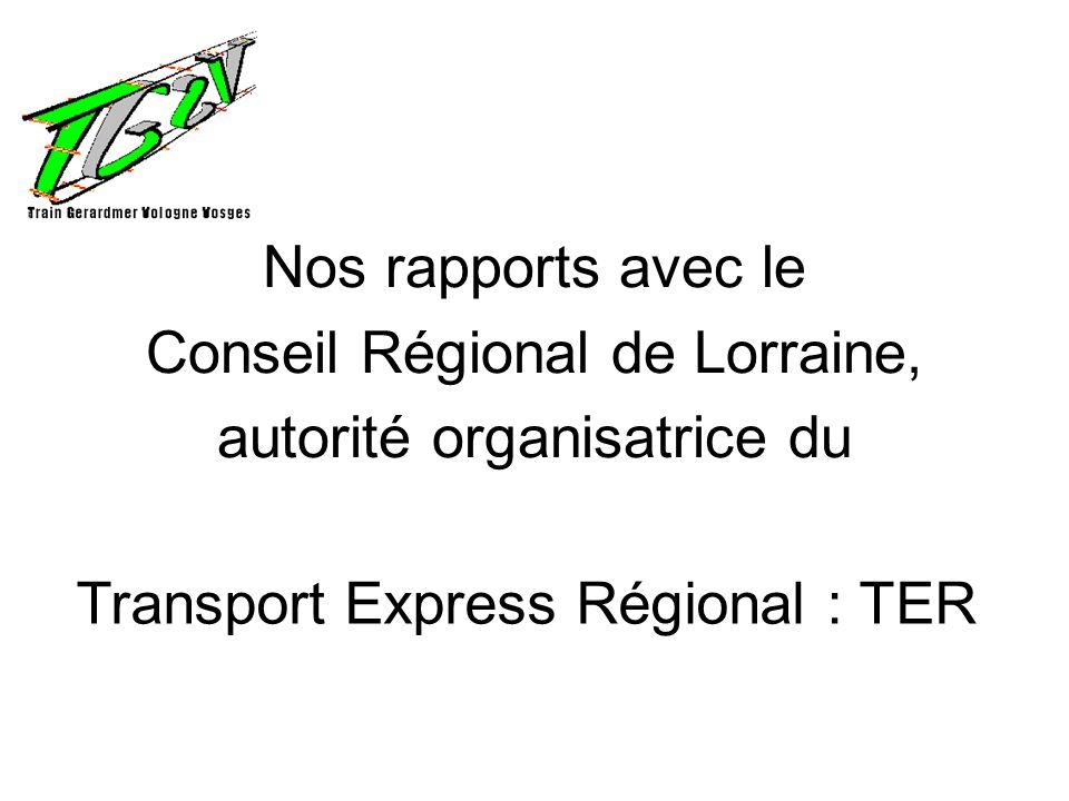 Nos rapports avec le Conseil Régional de Lorraine, autorité organisatrice du Transport Express Régional : TER