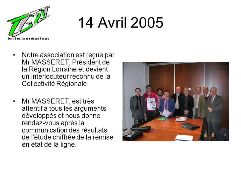 14 Avril 2005 Notre association est reçue par Mr MASSERET, Président de la Région Lorraine et devient un interlocuteur reconnu de la Collectivité Régi