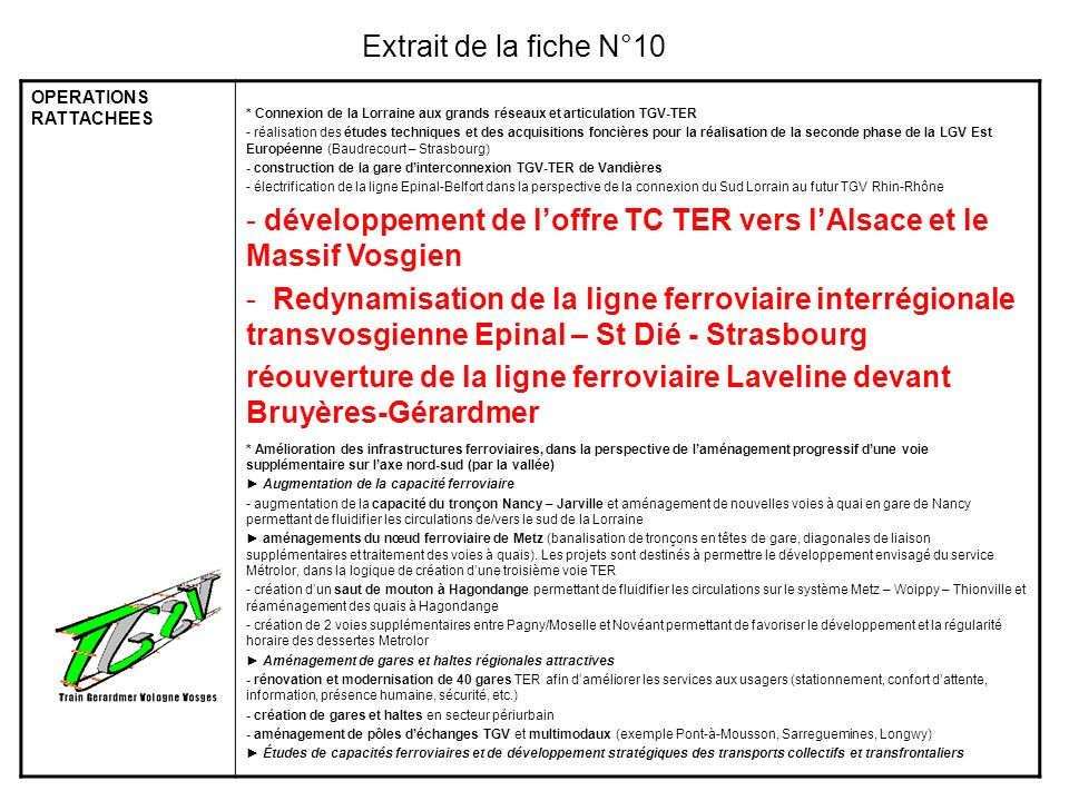 OPERATIONS RATTACHEES * Connexion de la Lorraine aux grands réseaux et articulation TGV-TER - réalisation des études techniques et des acquisitions fo