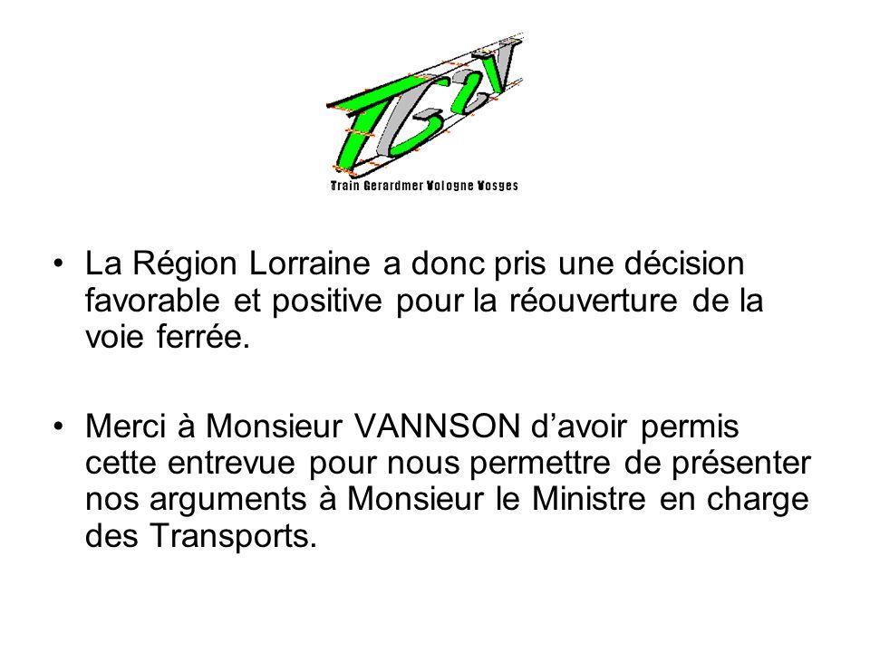 La Région Lorraine a donc pris une décision favorable et positive pour la réouverture de la voie ferrée. Merci à Monsieur VANNSON davoir permis cette