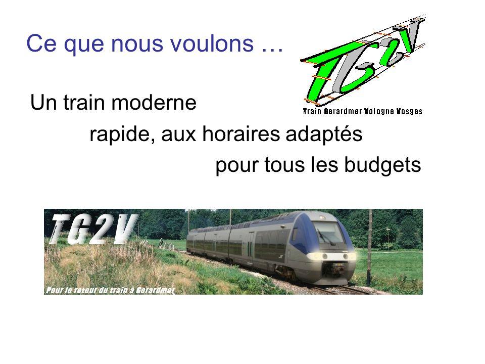 Un train moderne rapide, aux horaires adaptés pour tous les budgets Ce que nous voulons …