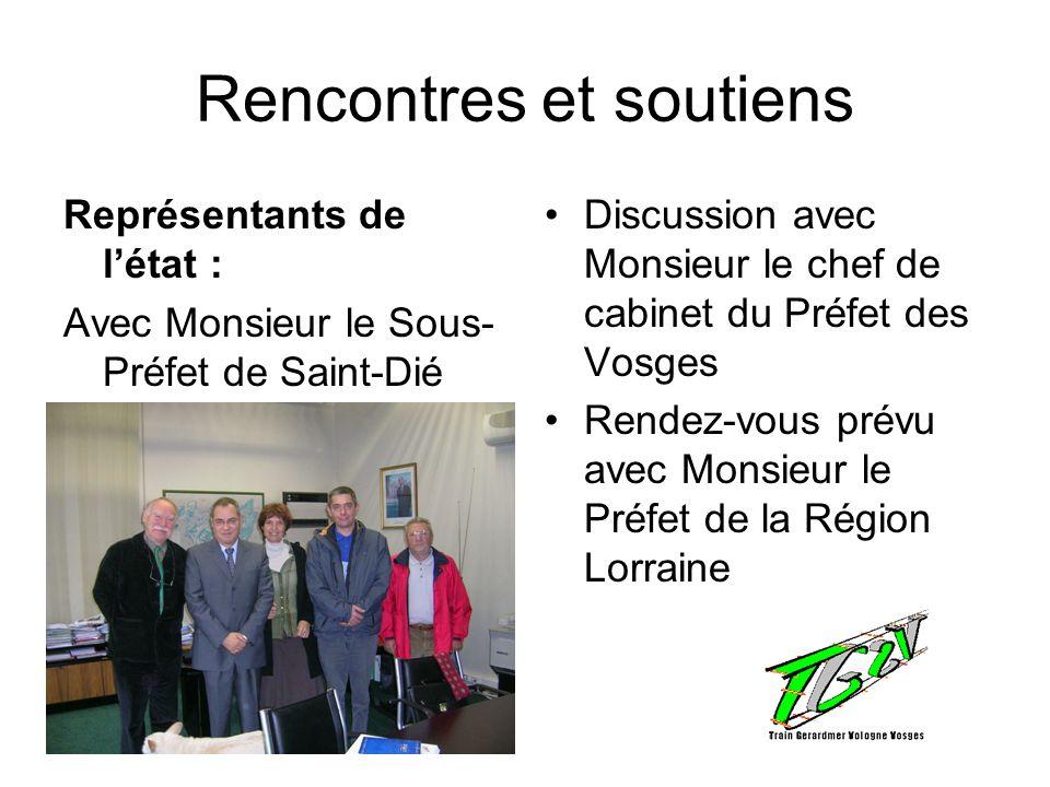 Rencontres et soutiens Représentants de létat : Avec Monsieur le Sous- Préfet de Saint-Dié Discussion avec Monsieur le chef de cabinet du Préfet des V