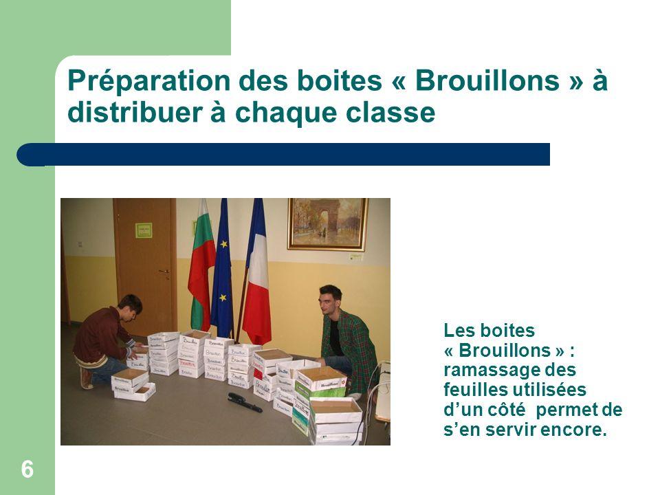 6 Préparation des boites « Brouillons » à distribuer à chaque classe Les boites « Brouillons » : ramassage des feuilles utilisées dun côté permet de sen servir encore.