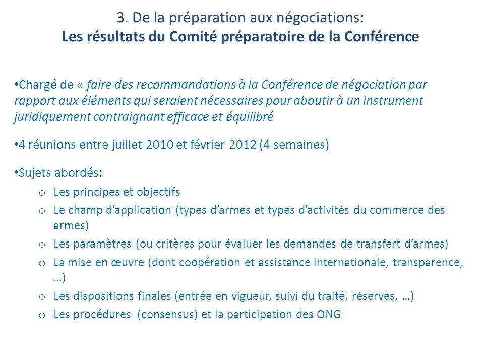 3. De la préparation aux négociations: Les résultats du Comité préparatoire de la Conférence Chargé de « faire des recommandations à la Conférence de
