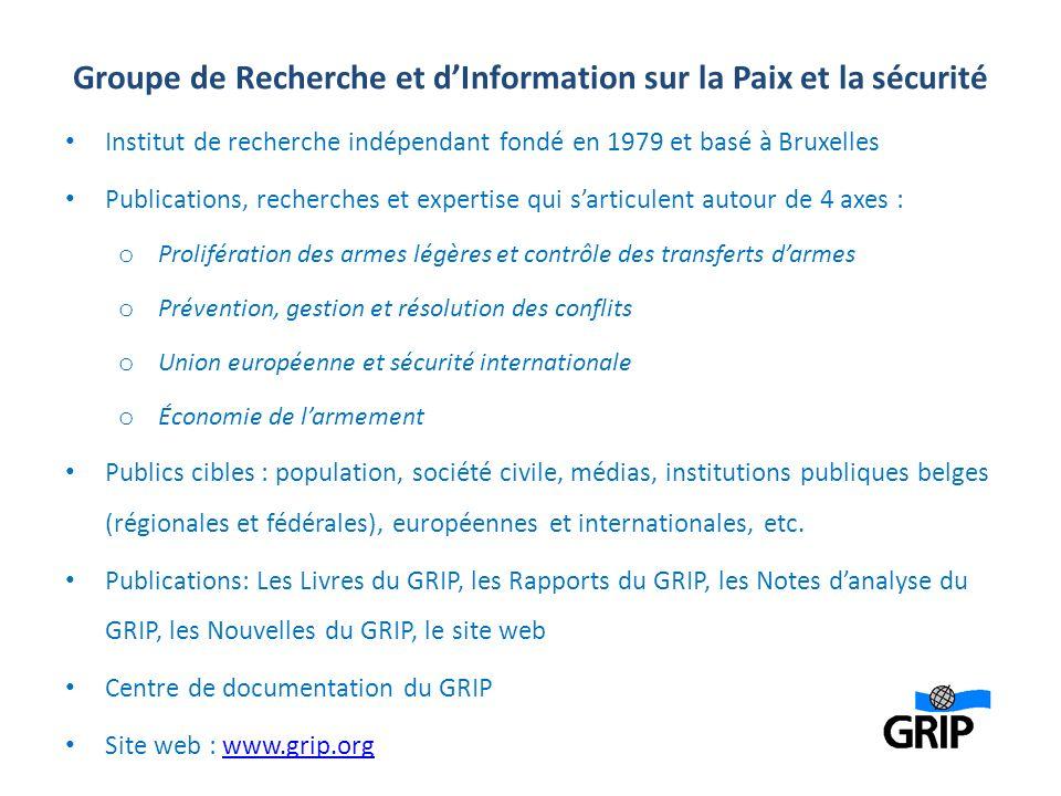 Groupe de Recherche et dInformation sur la Paix et la sécurité Institut de recherche indépendant fondé en 1979 et basé à Bruxelles Publications, reche