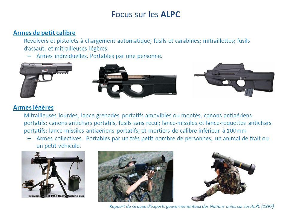 Focus sur les ALPC Armes de petit calibre Revolvers et pistolets à chargement automatique; fusils et carabines; mitraillettes; fusils dassaut; et mitr