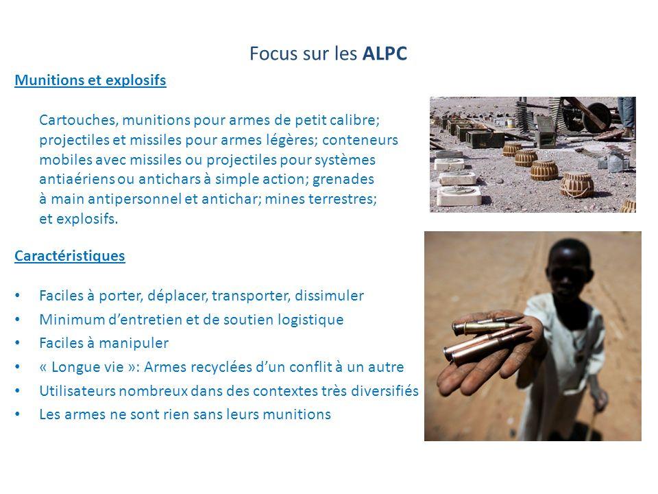 Focus sur les ALPC Munitions et explosifs Cartouches, munitions pour armes de petit calibre; projectiles et missiles pour armes légères; conteneurs mo