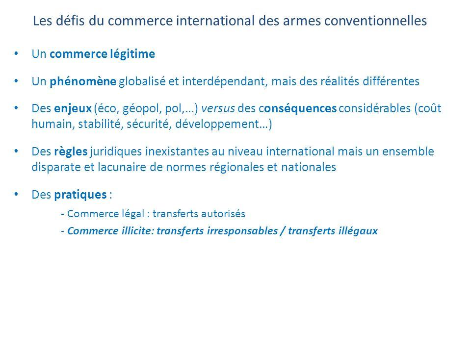 Les défis du commerce international des armes conventionnelles Un commerce légitime Un phénomène globalisé et interdépendant, mais des réalités différ