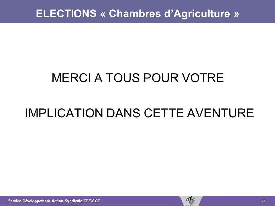 11Service Développement Action Syndicale CFE-CGC ELECTIONS « Chambres dAgriculture » MERCI A TOUS POUR VOTRE IMPLICATION DANS CETTE AVENTURE