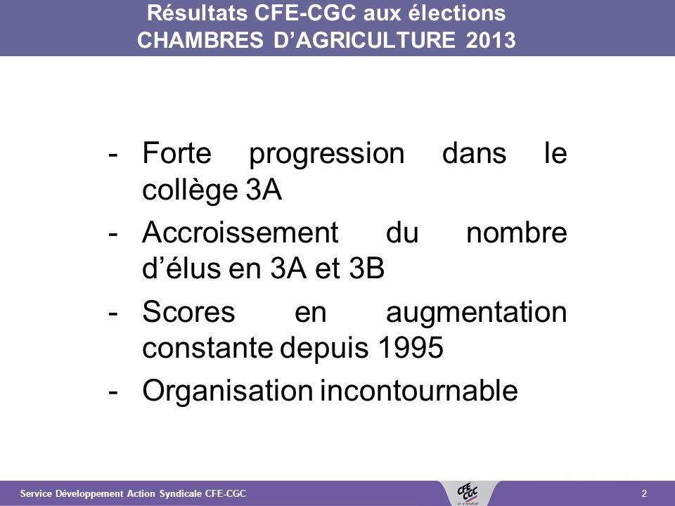 2 Résultats CFE-CGC aux élections CHAMBRES DAGRICULTURE 2013 -Forte progression dans le collège 3A -Accroissement du nombre délus en 3A et 3B -Scores en augmentation constante depuis 1995 -Organisation incontournable