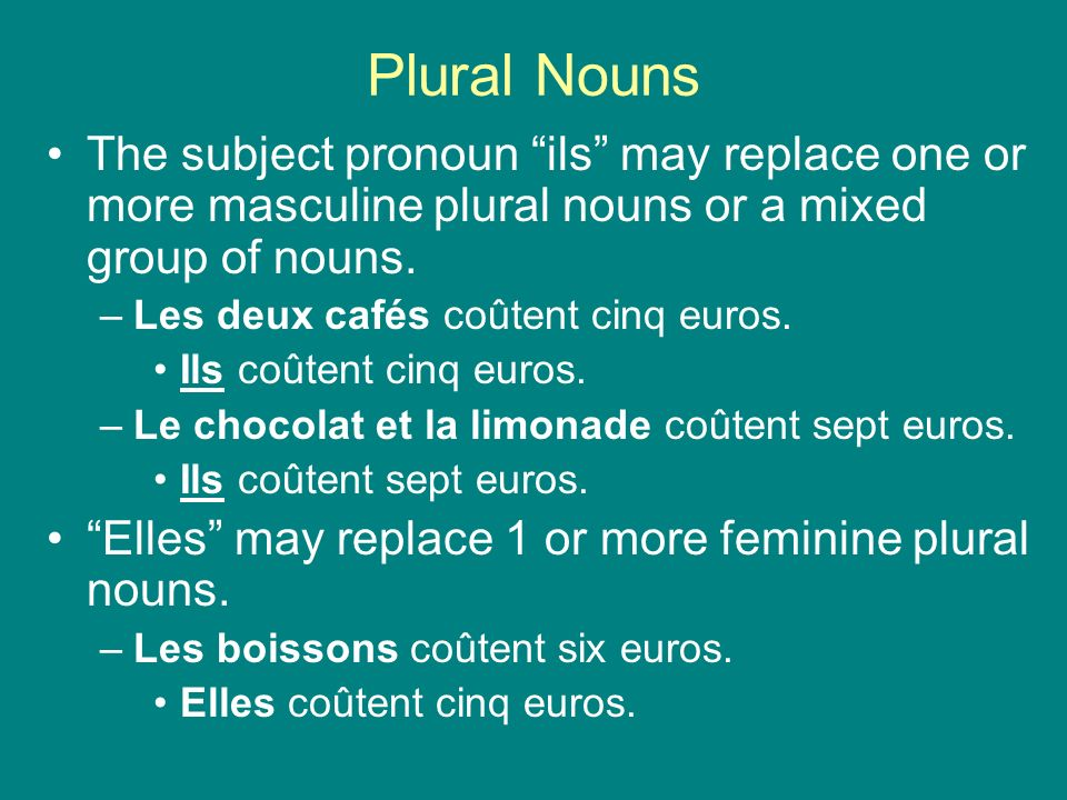 Plural Nouns The subject pronoun ils may replace one or more masculine plural nouns or a mixed group of nouns. –Les deux cafés coûtent cinq euros. Ils