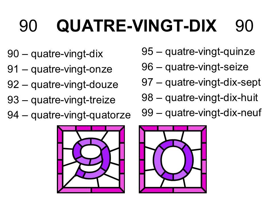 90 QUATRE-VINGT-DIX 90 90 – quatre-vingt-dix 91 – quatre-vingt-onze 92 – quatre-vingt-douze 93 – quatre-vingt-treize 94 – quatre-vingt-quatorze 95 – q