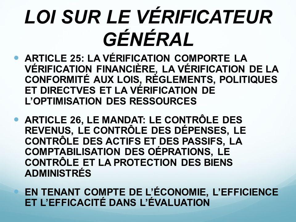 LOI SUR LE VÉRIFICATEUR GÉNÉRAL ARTICLE 25: LA VÉRIFICATION COMPORTE LA VÉRIFICATION FINANCIÈRE, LA VÉRIFICATION DE LA CONFORMITÉ AUX LOIS, RÈGLEMENTS