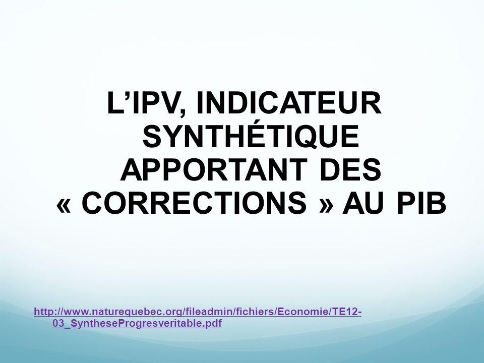 LIPV, INDICATEUR SYNTHÉTIQUE APPORTANT DES « CORRECTIONS » AU PIB http://www.naturequebec.org/fileadmin/fichiers/Economie/TE12- 03_SyntheseProgresveri