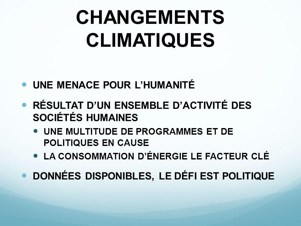 CHANGEMENTS CLIMATIQUES UNE MENACE POUR LHUMANITÉ RÉSULTAT DUN ENSEMBLE DACTIVITÉ DES SOCIÉTÉS HUMAINES UNE MULTITUDE DE PROGRAMMES ET DE POLITIQUES E