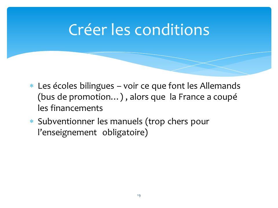 Les écoles bilingues – voir ce que font les Allemands (bus de promotion…), alors que la France a coupé les financements Subventionner les manuels (tro
