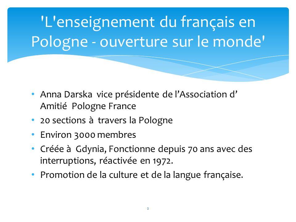 Anna Darska vice présidente de lAssociation d Amitié Pologne France 20 sections à travers la Pologne Environ 3000 membres Créée à Gdynia, Fonctionne d