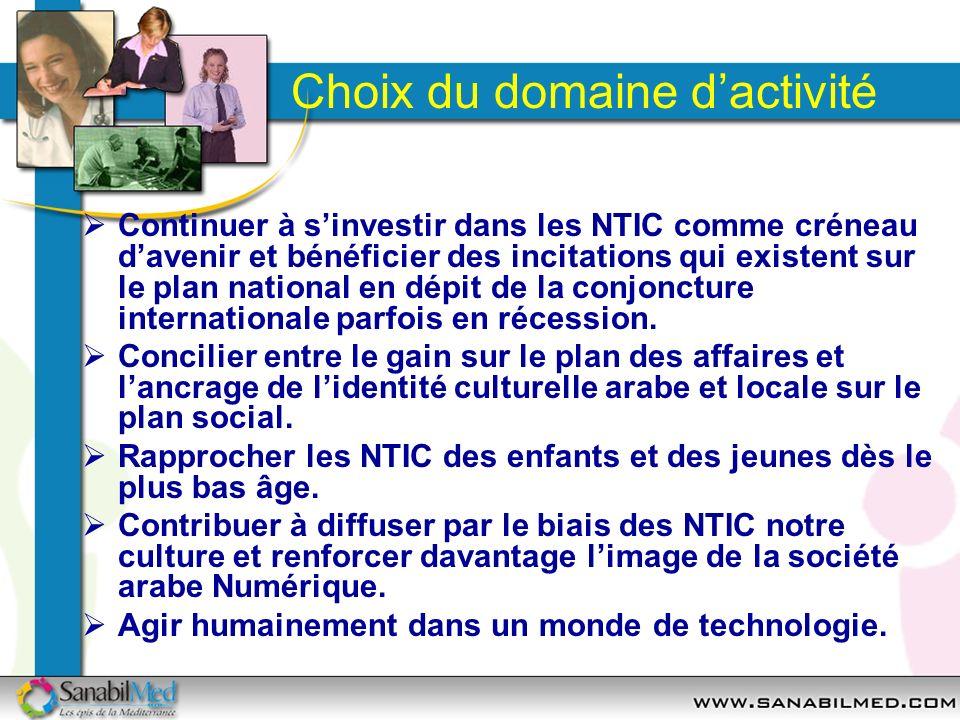 Choix du domaine dactivité Continuer à sinvestir dans les NTIC comme créneau davenir et bénéficier des incitations qui existent sur le plan national e