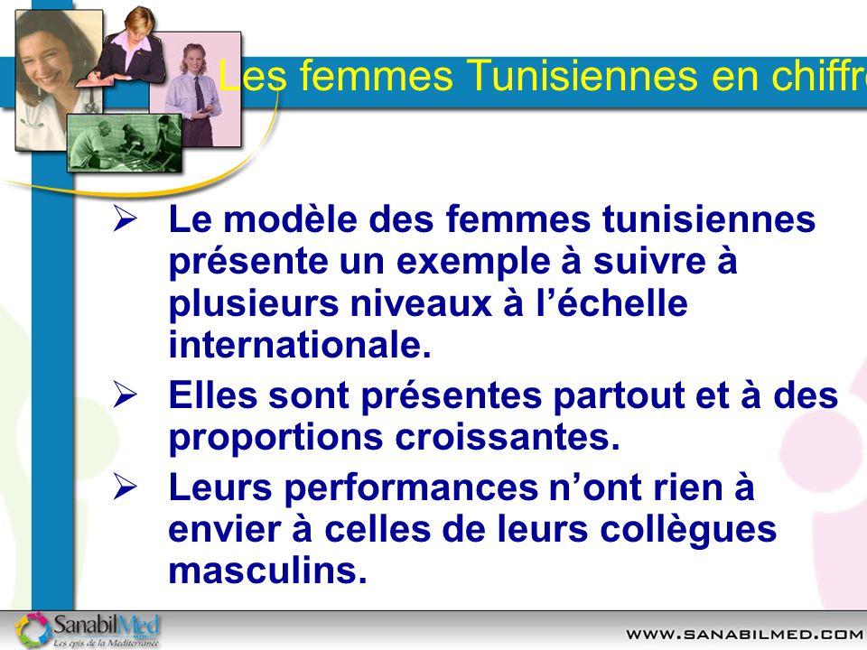 Les femmes Tunisiennes en chiffres Le modèle des femmes tunisiennes présente un exemple à suivre à plusieurs niveaux à léchelle internationale. Elles