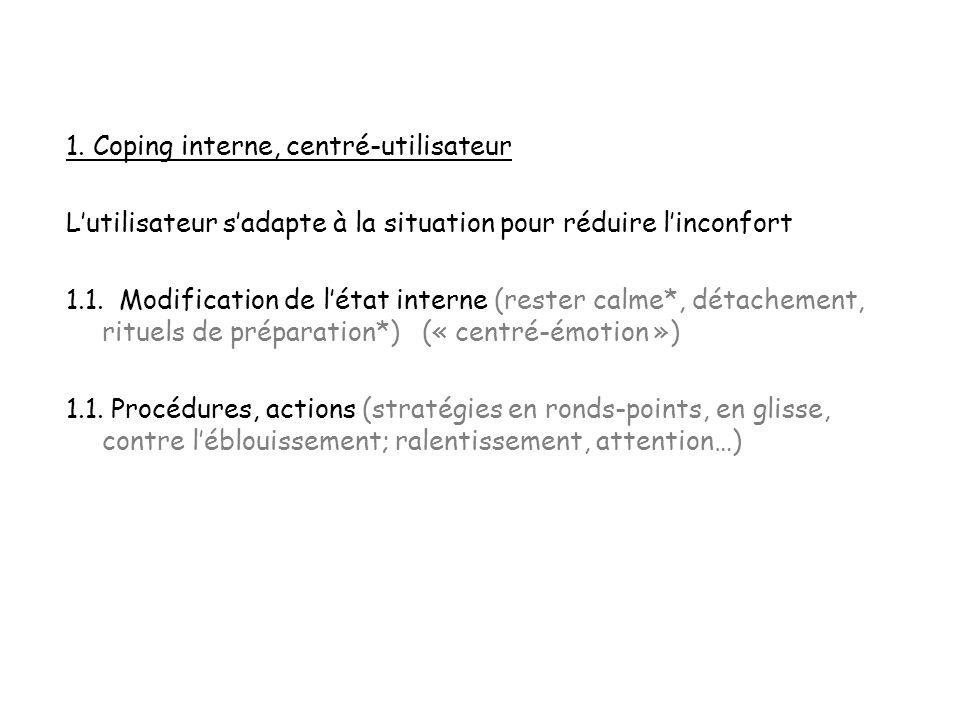 1. Coping interne, centré-utilisateur Lutilisateur sadapte à la situation pour réduire linconfort 1.1. Modification de létat interne (rester calme*, d