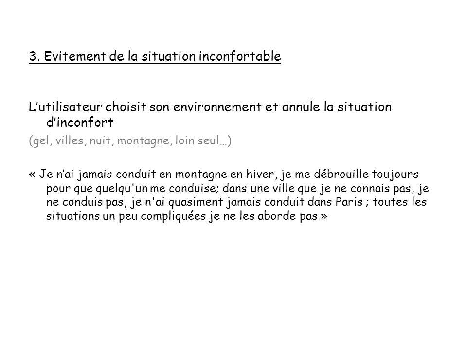 3. Evitement de la situation inconfortable Lutilisateur choisit son environnement et annule la situation dinconfort (gel, villes, nuit, montagne, loin