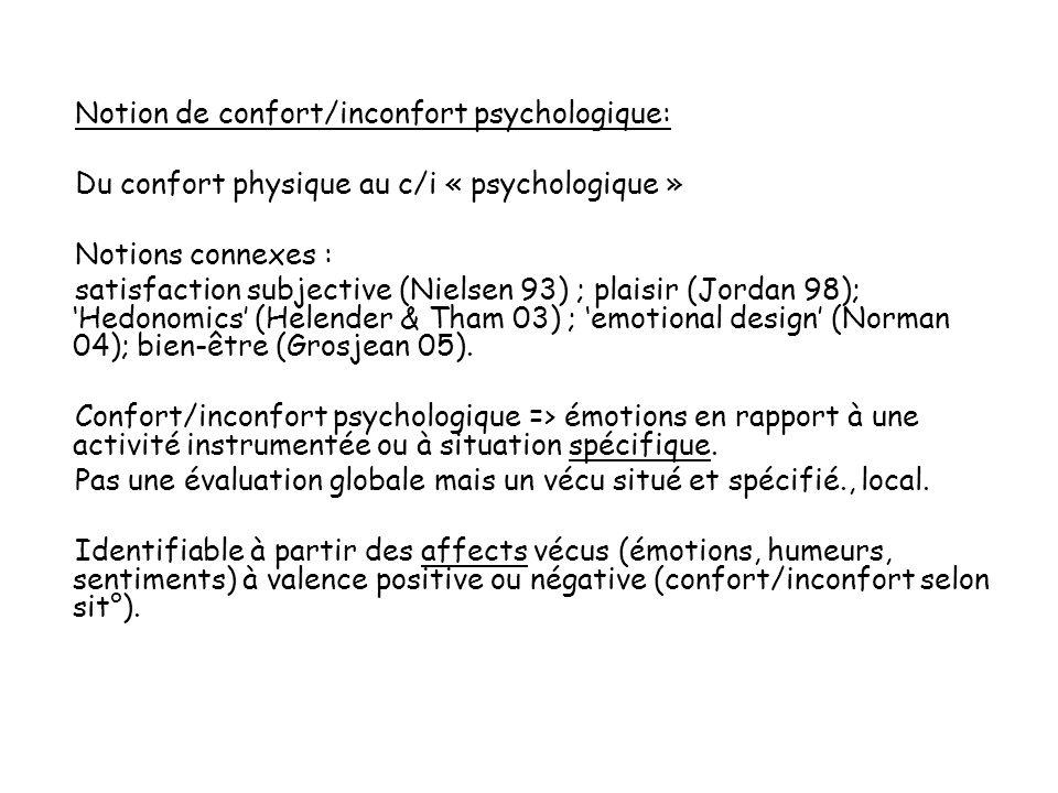 Notion de confort/inconfort psychologique: Du confort physique au c/i « psychologique » Notions connexes : satisfaction subjective (Nielsen 93) ; plaisir (Jordan 98); Hedonomics (Helender & Tham 03) ; emotional design (Norman 04); bien-être (Grosjean 05).