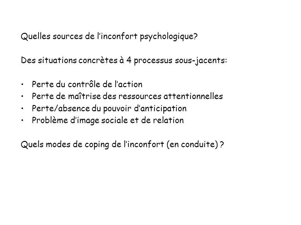 Quelles sources de linconfort psychologique? Des situations concrètes à 4 processus sous-jacents: Perte du contrôle de laction Perte de maîtrise des r