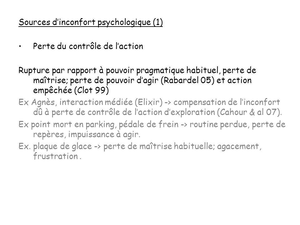 Sources dinconfort psychologique (1) Perte du contrôle de laction Rupture par rapport à pouvoir pragmatique habituel, perte de maîtrise; perte de pouv