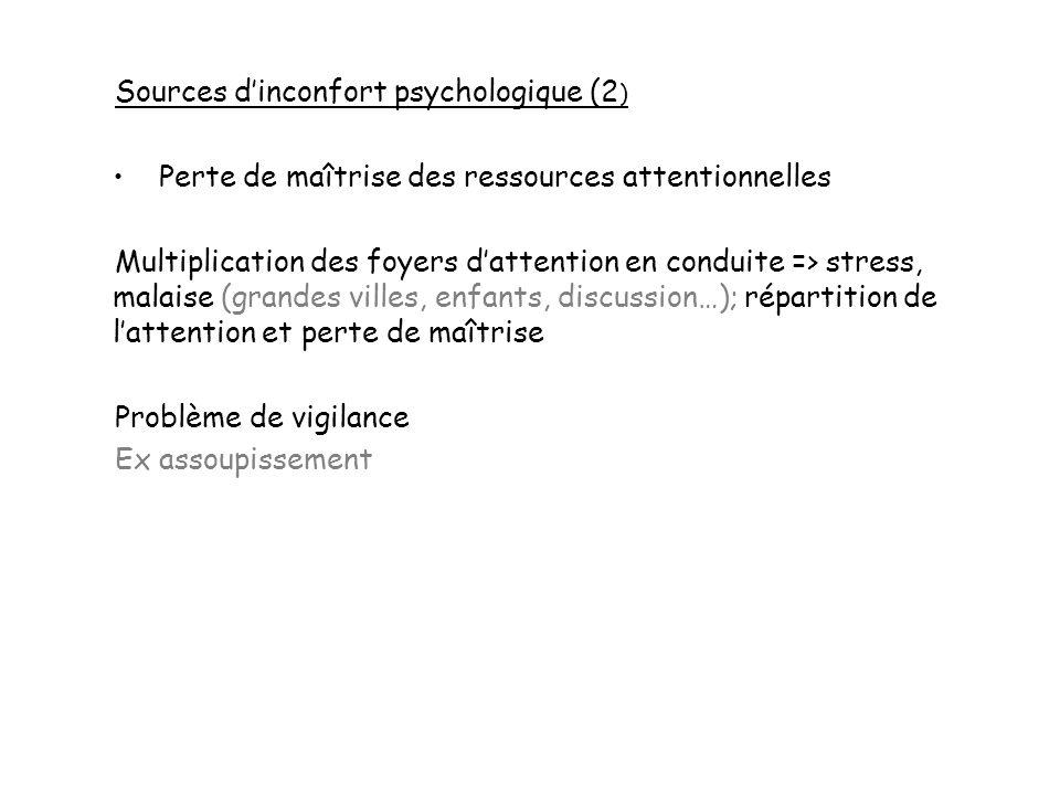 Sources dinconfort psychologique (2 ) Perte de maîtrise des ressources attentionnelles Multiplication des foyers dattention en conduite => stress, mal