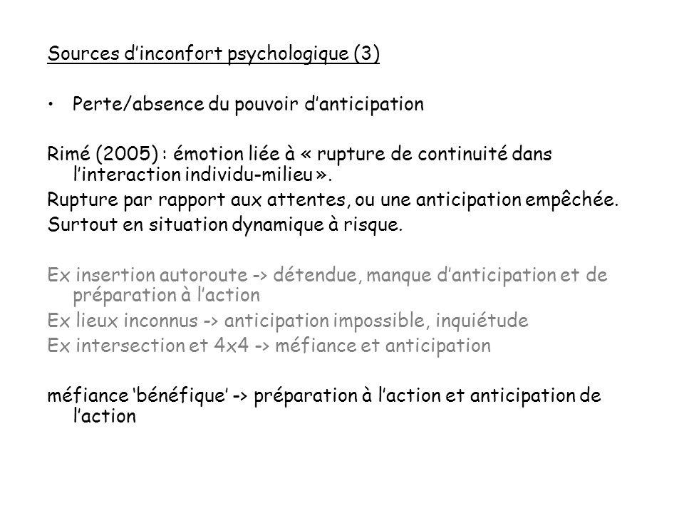 Sources dinconfort psychologique (3) Perte/absence du pouvoir danticipation Rimé (2005) : émotion liée à « rupture de continuité dans linteraction ind
