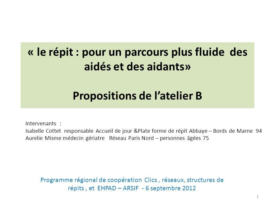 « le répit : pour un parcours plus fluide des aidés et des aidants» Propositions de latelier B 1 Intervenants : Isabelle Cottet responsable Accueil de
