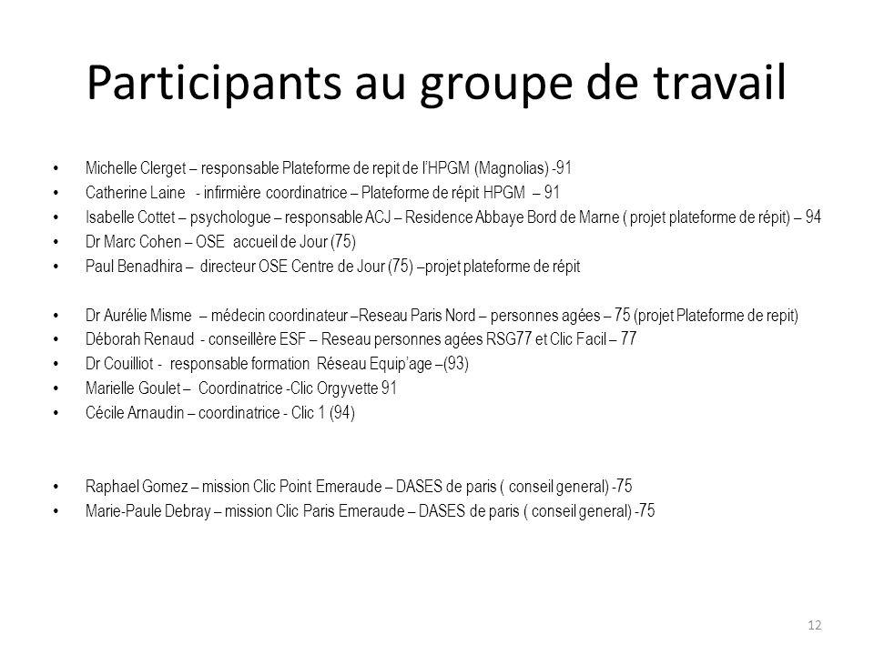 Participants au groupe de travail Michelle Clerget – responsable Plateforme de repit de lHPGM (Magnolias) -91 Catherine Laine - infirmière coordinatri