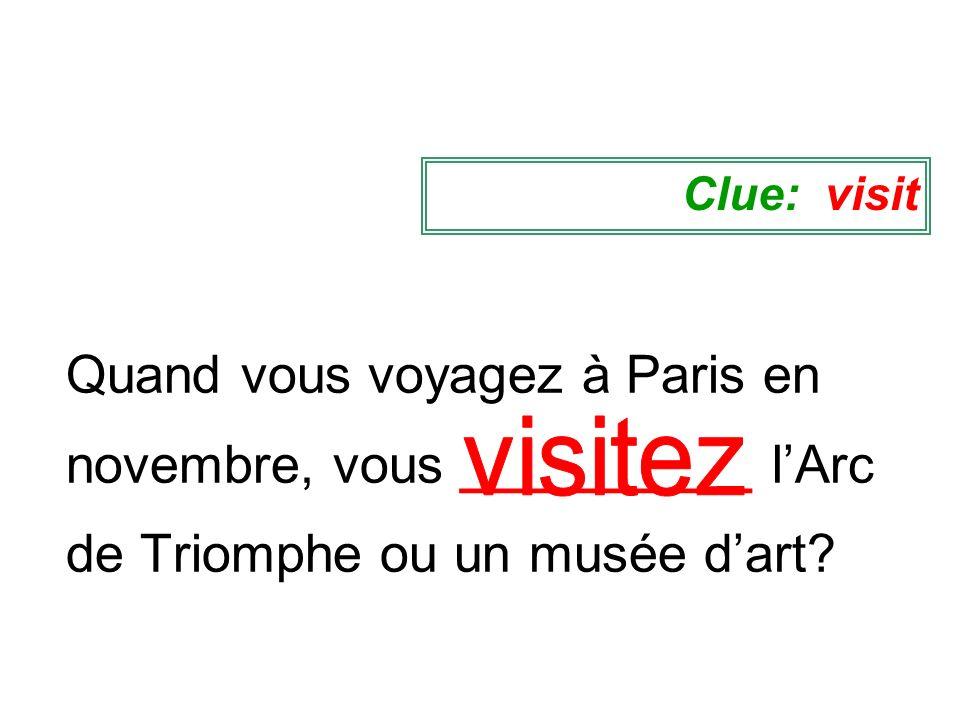 Quand vous voyagez à Paris en novembre, vous __________ lArc de Triomphe ou un musée dart? Clue: visit