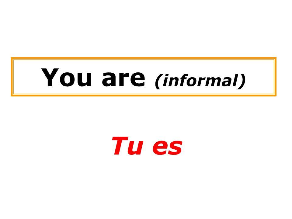 You are (informal) Tu es