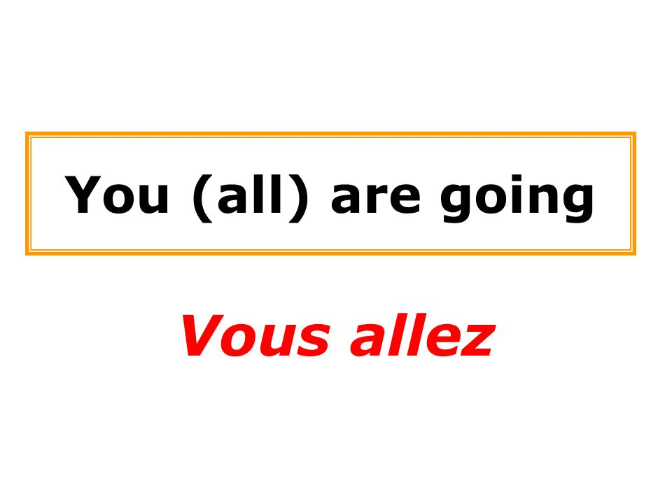 You (all) are going Vous allez