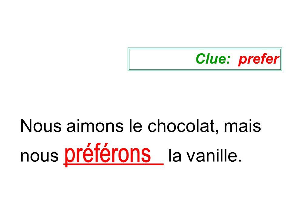 Nous aimons le chocolat, mais nous __________ la vanille. Clue: prefer