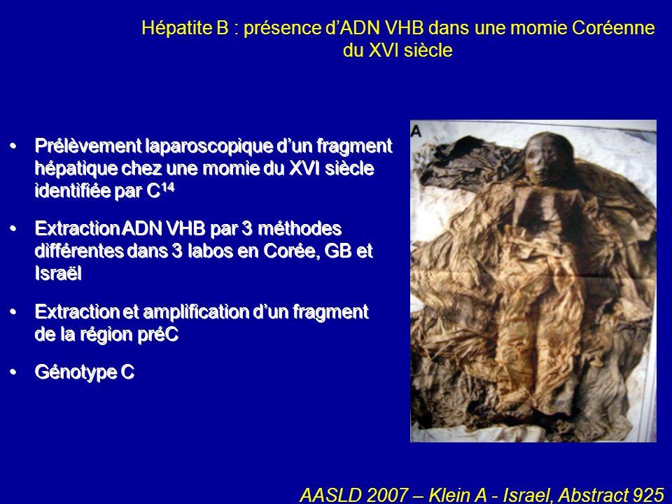 Hépatite B : présence dADN VHB dans une momie Coréenne du XVI siècle Prélèvement laparoscopique dun fragment hépatique chez une momie du XVI siècle id