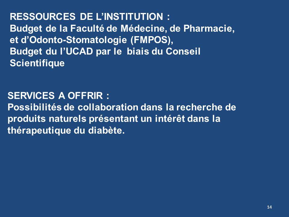 14 SERVICES A OFFRIR : Possibilités de collaboration dans la recherche de produits naturels présentant un intérêt dans la thérapeutique du diabète. RE