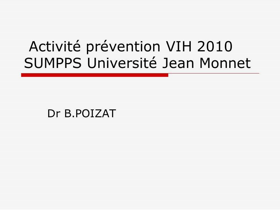 Activité prévention VIH 2010 SUMPPS Université Jean Monnet Dr B.POIZAT