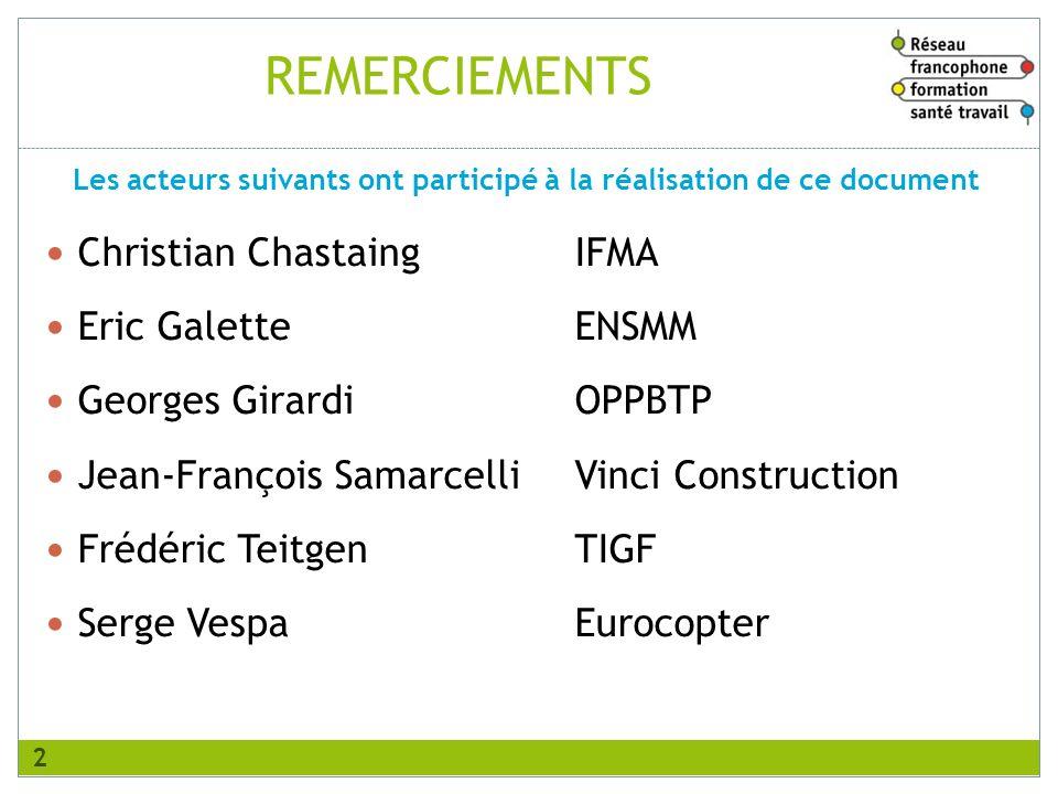 REMERCIEMENTS Christian Chastaing IFMA Eric Galette ENSMM Georges Girardi OPPBTP Jean-François Samarcelli Vinci Construction Frédéric Teitgen TIGF Ser