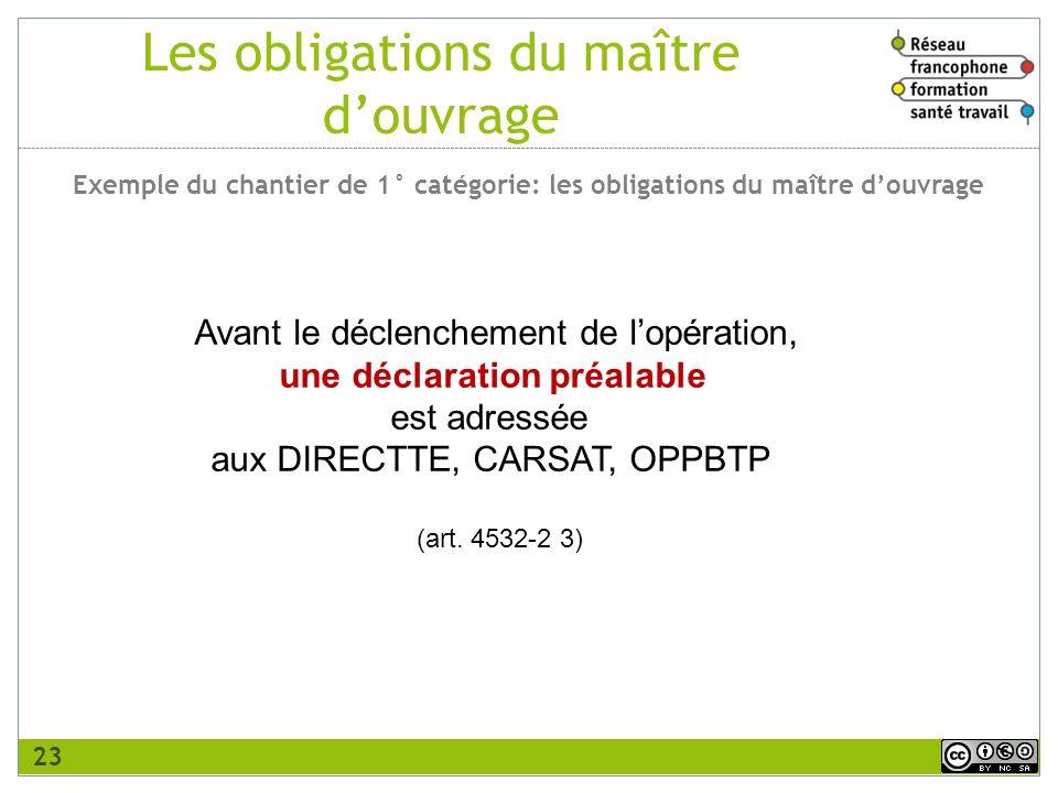 Avant le déclenchement de lopération, une déclaration préalable est adressée aux DIRECTTE, CARSAT, OPPBTP (art. 4532-2 3) Les obligations du maître do