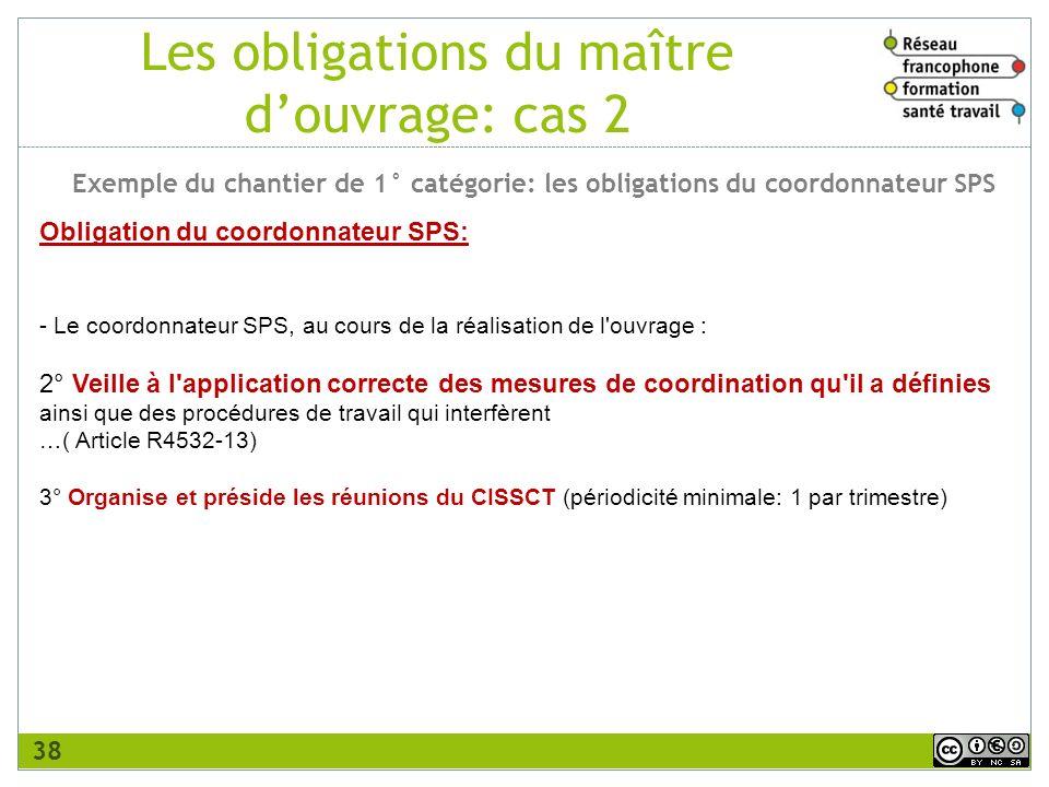 Obligation du coordonnateur SPS: - Le coordonnateur SPS, au cours de la réalisation de l'ouvrage : 2° Veille à l'application correcte des mesures de c