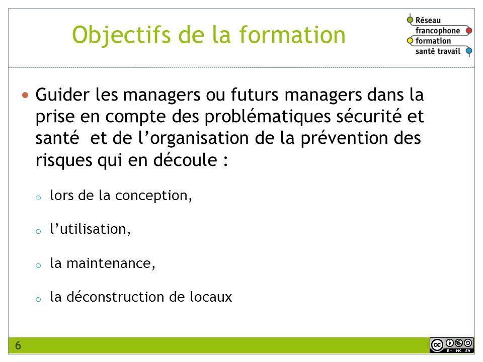 Objectifs de la formation Guider les managers ou futurs managers dans la prise en compte des problématiques sécurité et santé et de lorganisation de l