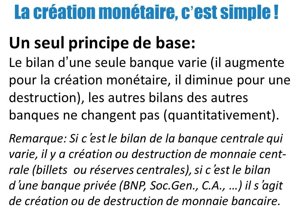 La création monétaire, cest simple ! Un seul principe de base: Le bilan dune seule banque varie (il augmente pour la création monétaire, il diminue po