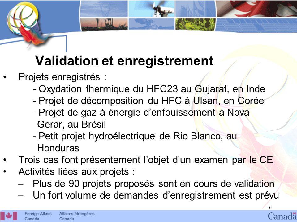 6 Validation et enregistrement Projets enregistrés : - Oxydation thermique du HFC23 au Gujarat, en Inde - Projet de décomposition du HFC à Ulsan, en Corée - Projet de gaz à énergie denfouissement à Nova Gerar, au Brésil - Petit projet hydroélectrique de Rio Blanco, au Honduras Trois cas font présentement lobjet dun examen par le CE Activités liées aux projets : –Plus de 90 projets proposés sont en cours de validation –Un fort volume de demandes denregistrement est prévu